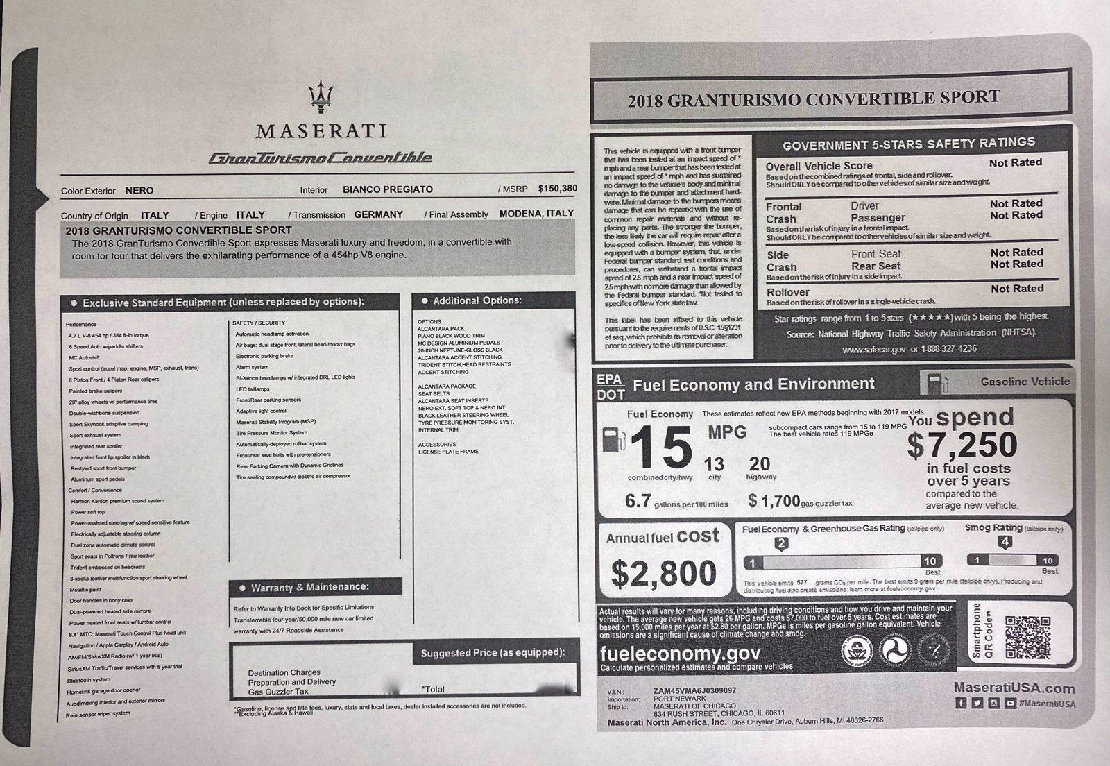 Used 2018 Maserati GranTurismo Convertible Sport   Downers Grove, IL